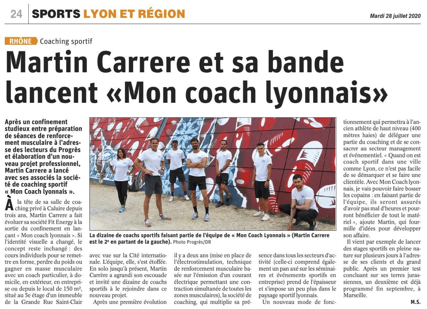 Article Journal de Mon Coach Lyonnais